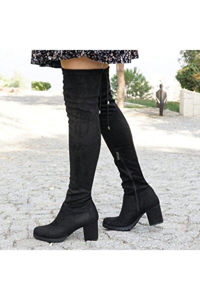 SELENA Kadın Siyah Uzun Streç Çorap Çizme