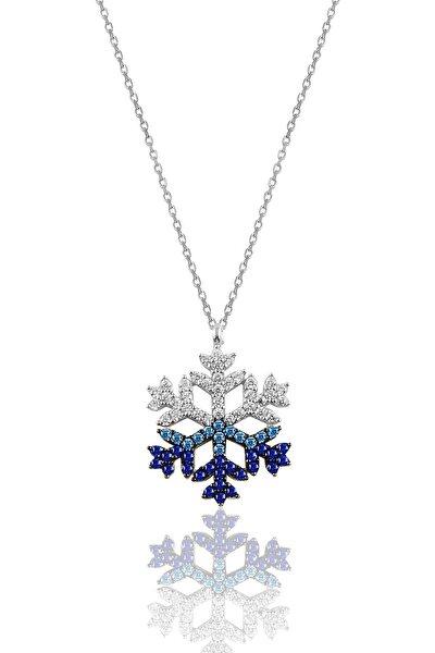 Söğütlü Silver Gümüş Rodyumlu Renkli Taşlı Kar Tanesi Kolye