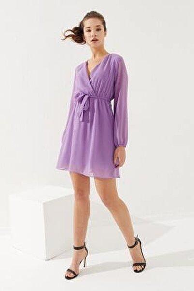 Kruvaze Yaka Bel Kuşaklı Elbise Lila