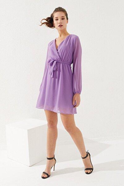 Reyon Kruvaze Yaka Bel Kuşaklı Elbise Lila