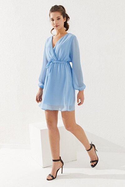 Reyon Kruvaze Yaka Bel Kuşaklı Elbise Mavi