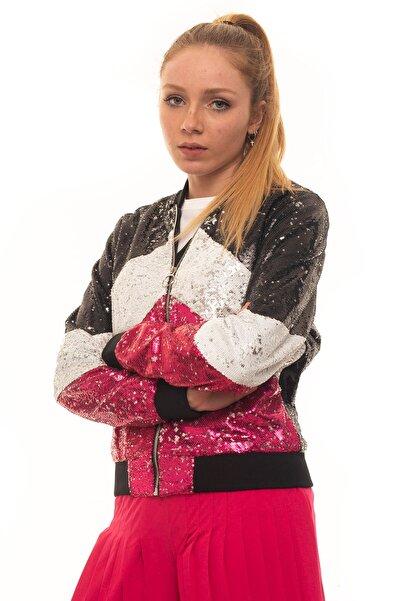 Guess Georgina Sequins Multicolor Kadın Bomber Ceket