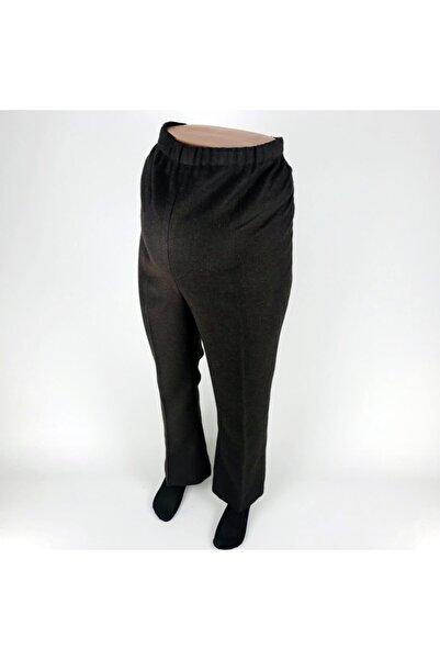 sny Boru Paça Kaşe Kumaş Kışlık Belden Ayarlanabilir Lastikli Kahverengi Hamile Pantolon