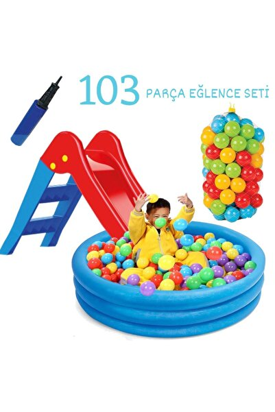 Furkan Toys Kaydırak Oyun Havuzu (102x25Cm) 100 Adet Oyun Topu, Havuz, Pompa