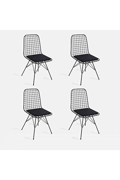 CAN CONCEPT 4Lü Siyah Tel Sandalye Cafe Ofis Balkon Sandalyesi