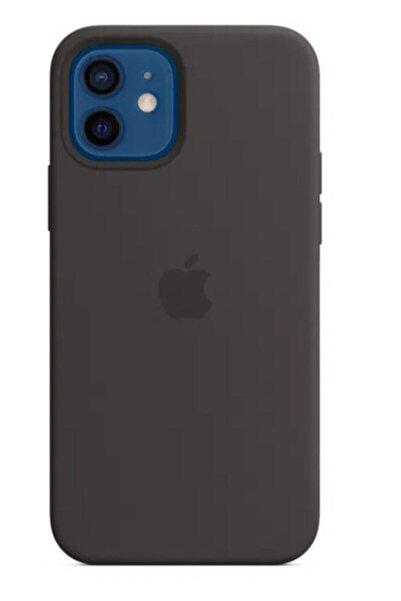 ALBTEKS Apple Iphone 12/12 Pro Lansman Altı Kapalı Içi Kadife Kılıf Siyah