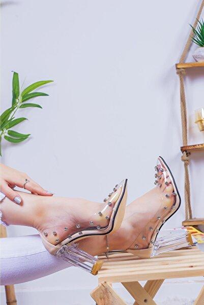 Limoya Kamila Taş Detaylı Şeffaf Kenarlı Şeffaf Topuklu Stiletto