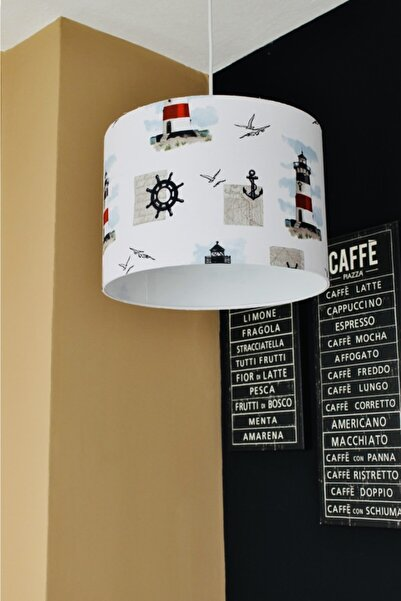 AVİZEVİ Aydınlatma Kumaş Kaplama Çocuk Odası Deniz Feneri Desenli Tekli