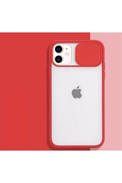 ESNAFSTORE Iphone 11 Uyumlu Kamera Koruyuculu Kırmızı Kılıf Slayt Korumalı Şeffaf Telefon Kılıfı