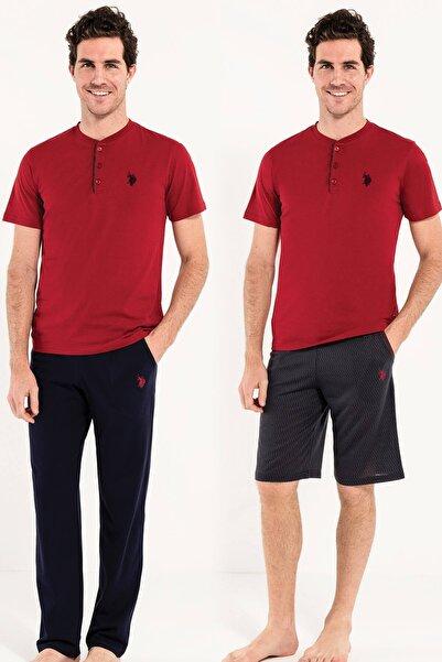 U.S. Polo Assn. Erkek Bordo 1 Kısa Kollu Pijama + 1 Şort Orjinal Kutulu 12005