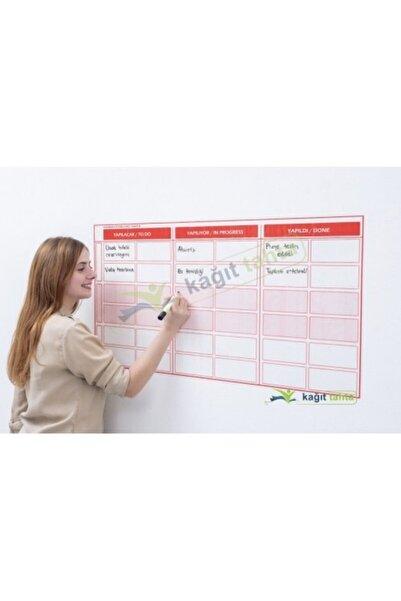 Cengo Kanban Planlayıcı Takvim Çizelgesi 100x52 Cm Kağıt Tahta +2 Adet Doldurulabilir Tahta Kalemi Hediye