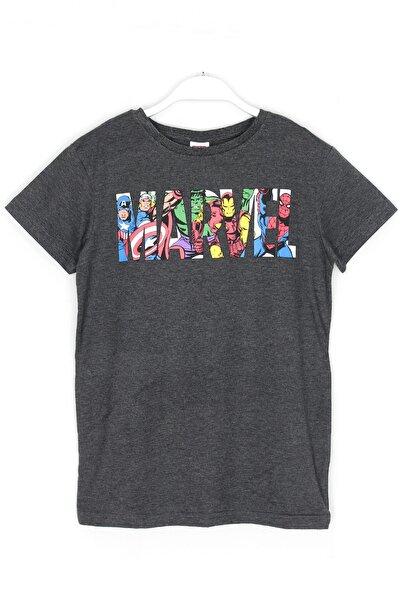 MARVEL Karakterleri Baskılı Erkek Çocuk T-shirt 8 - 12 Yaş Koyu Gri