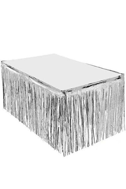 Organizasyon Pazarı Püsküllü Metalize Gümüş Masa Eteği