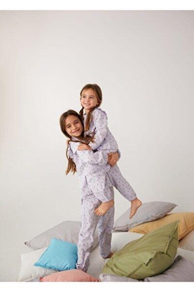 MANGO Kids Kız Çocuk Mor Desenli Uzun Pijama