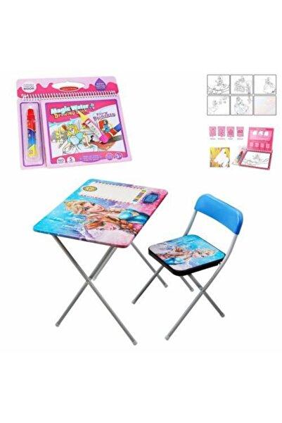Mashotrend Frozen Çocuk Ders Çalışma Masası - Kraliçe Ders Masası + Prenses Sihirli Su Boyama Kitabı