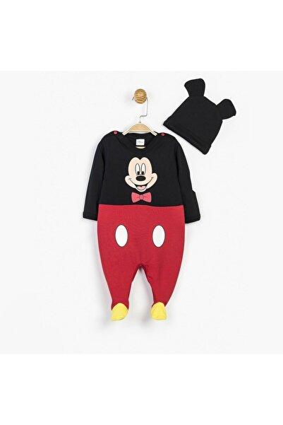 Mickey Mouse Kırmızı Siyah Erkek Bebek Disney Tulum