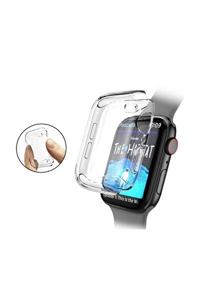 Microcase Apple Watch Seri 5 44 Mm Önü Kapalı Tasarım Silikon Kılıf - Şeffaf