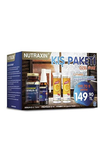 Nutraxin Kış Paketi ( Immun S Tablet + C Vitamin Çiğneme Tableti + Propolis Sprey )