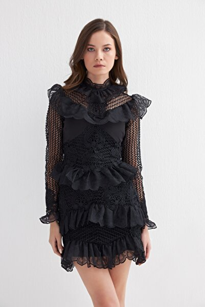 MURUNO Kadın Siyah Fırfırlı Abiye Elbise