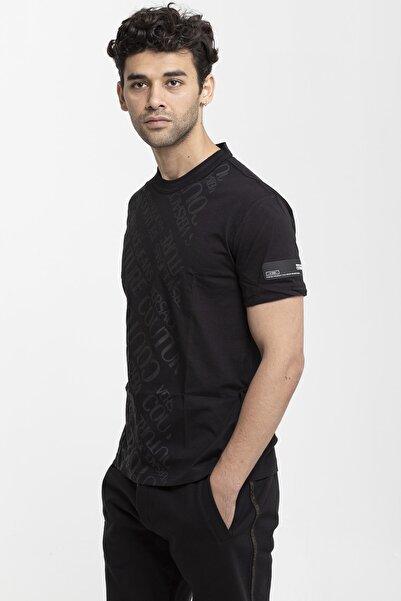 VERSACE JEANS COUTURE Erkek  Siyah Pamuklu T-shirt