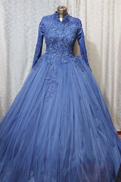 Albayrak Moda Kadın İndigo Mavi Renk Dantel işlemeli Tesettür Nişanlık