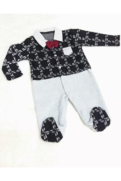 Sönmez Baby Unisex Bebek Kare Desenli Papyonlu Kadife Bebe Tulumu