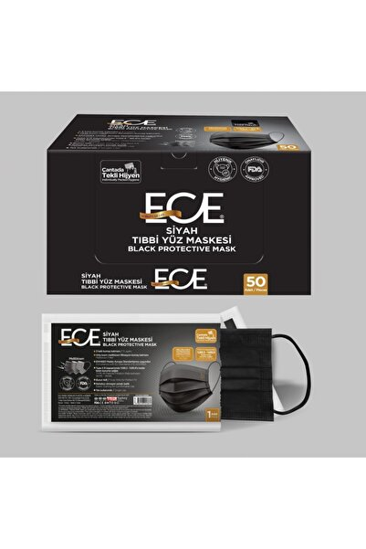 Ece Full Ultrasonik Tek Tek Paketli Meltblownlu Siyah Maske 50 Adet