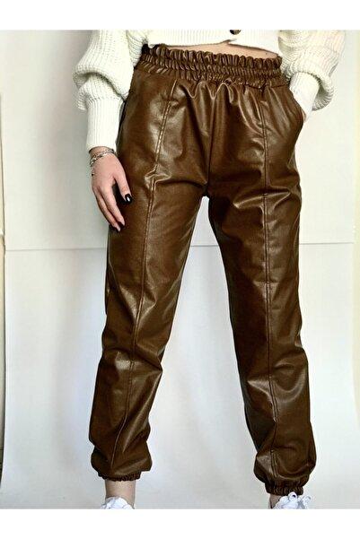 Day Nıght Kadın Kahverengi Deri Jogger Pantolon