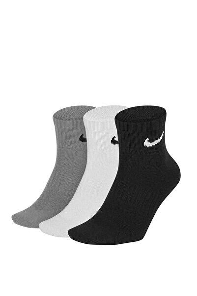 Nike Unisex Beyaz Gri Siyah Çorap - U Nk Everyday Ltwt Ankle 3pr - Sx7677-901