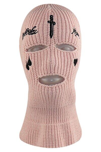 zirve şapka Kışlık Ünisex Üç Gözlü Kar Maskesi Pembe