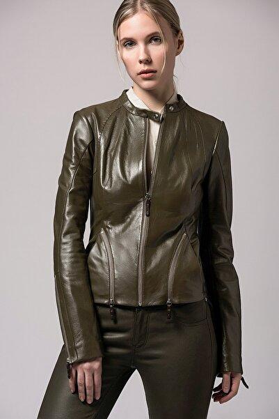 Vespucci by VSP Kadın Yeşil Hakiki Deri Biker Ceket