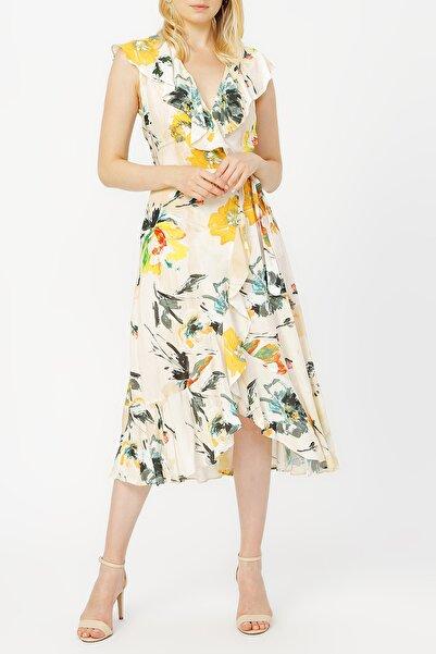 RANDOM Anvelop Kapama Volan Detaylı Desenli Elbise %100 Vıscon