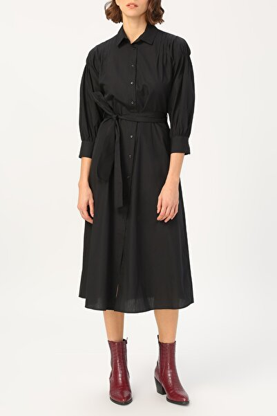 RANDOM Kadın Kol Detaylı Belden Bağlamalı Gömlek Elbise %100 Cotton