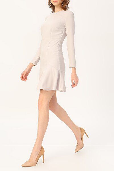 RANDOM Kadın Volan Detaylı Uzun Kollu Elbise %98 Polyester %2 Elastane