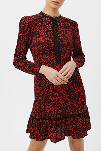 RANDOM Kadın Hakim Yaka Dantel Detaylı Desenli Elbise %58 Vıscon %42 Polyester