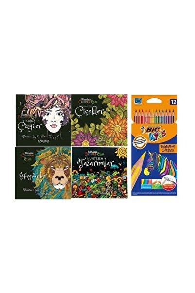 Karatay Yayınları Mandala Her Yaş Için Boyama Kitabı - 4'lü Set Ve Kuru Boya