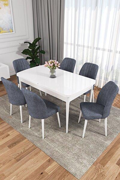 rovena Zeta Serisi Mdf, Beyaz Açılabilir Mutfak Masa Takımı/beyaz Masa+ 6 Adet Füme Sandalye