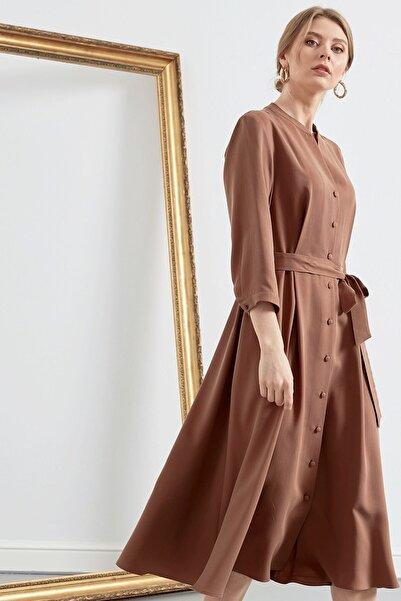Journey Kadın Camel  Truvakar Kol Gömlek Elbise