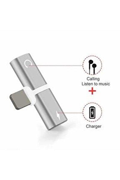 Iphone Uyumlu Şarj Ve Kulaklık Soketi Çoğaltıcı Adaptör Aparat Apple 7 Silver