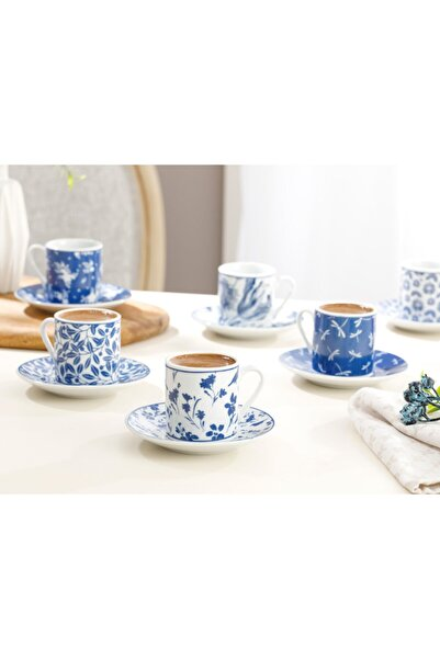 English Home Bella Porselen 12 Parça Kahve Fincan Takımı 80 Ml Lacivert