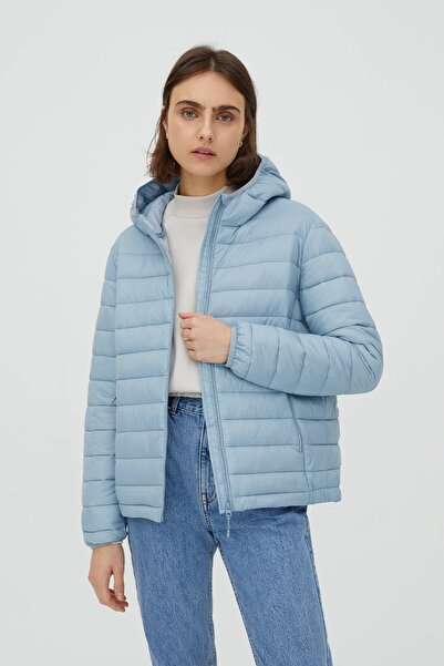 Pull & Bear Kadın Pastel Mavi Basic Şişme Mont 09714333