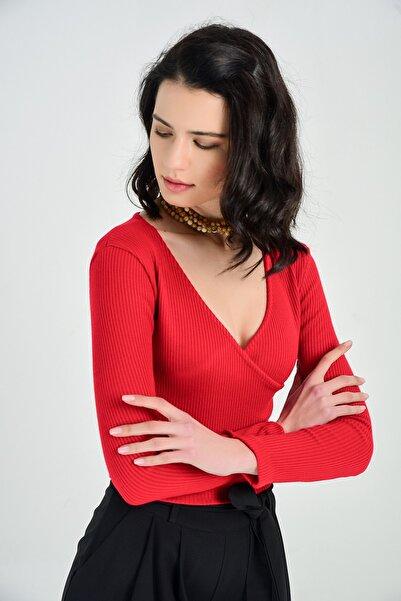 Sense Trıko Kumaş Bluz | Blz14392 Kırmızı