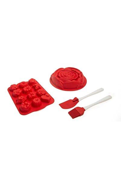 Silicolife Set03 4'lü Kek Kalıp Eldiven Ve Fırça Seti Fırsat Ürün Kırmızı