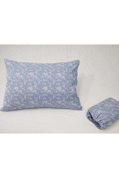 Güllüce ev tekstili Mavi Lastikli Çarşaf ve Yastık Kılıfı