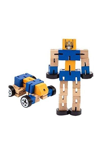 Adalı Oyuncak Ahşap Arabaya Dönüşen Büyük Model Robot
