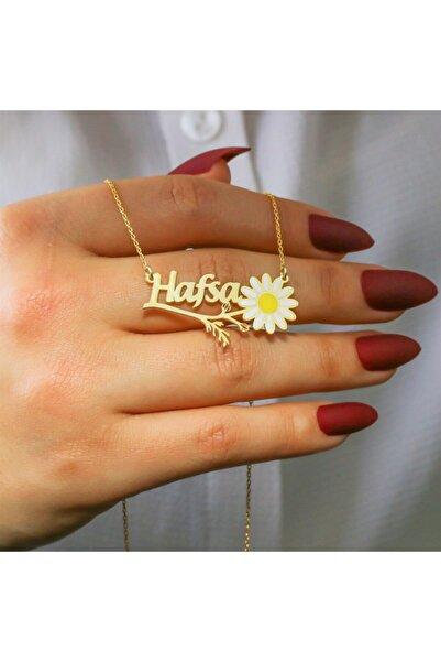 Silverplus Kişiye Özel Isimli Altın Renk Gümüş Bayan Papatya Kolye