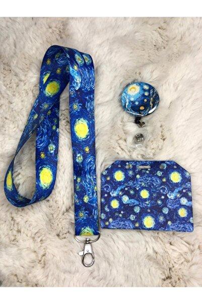 Hediyebum Van Gogh Yıldızlı Gece Boyun Askısı Yoyo Ve Kartlık Set