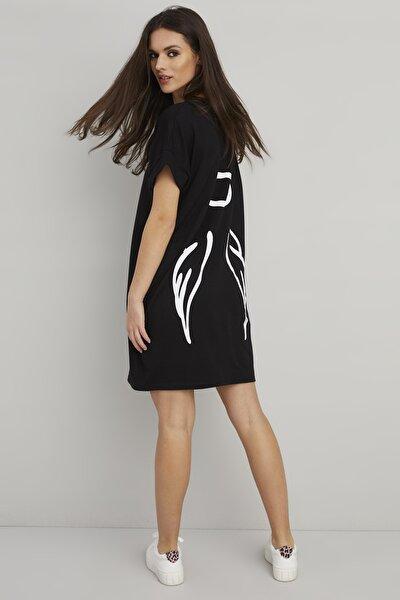 Cool & Sexy Kadın Siyah Sırt Baskılı Cepli T-Shirt Elbise BK1111