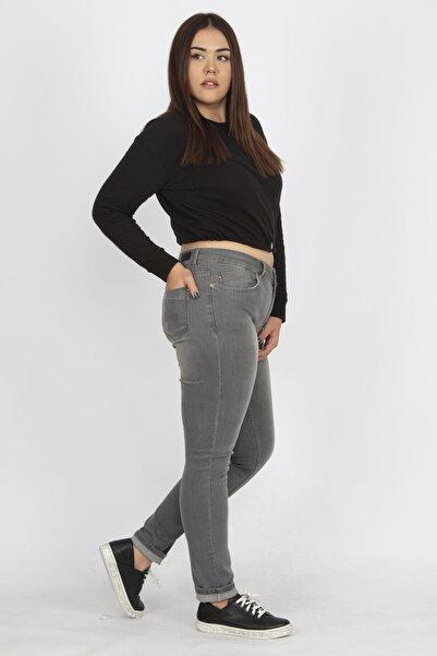 Şans Kadın Gri Denim Kumaş 5 Cepli Pantolon 65N23032
