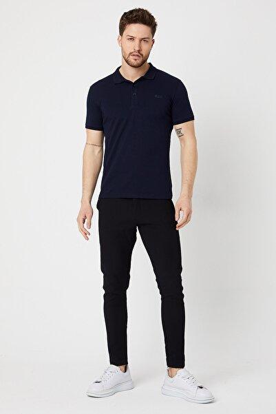 BREEZY Polo Yaka Düğmeli Baskılı T-shirt Lacivert Renk 01004